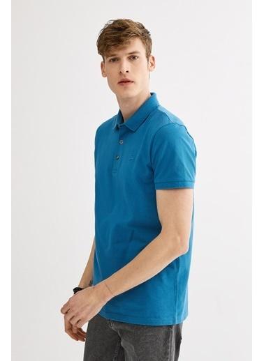 Avva Erkek  Polo Yaka Düz Tişört A01B1174 Mavi
